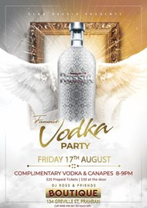 Famous Vodka Party @ Boutique Nightclub | Prahran | Victoria | Australia