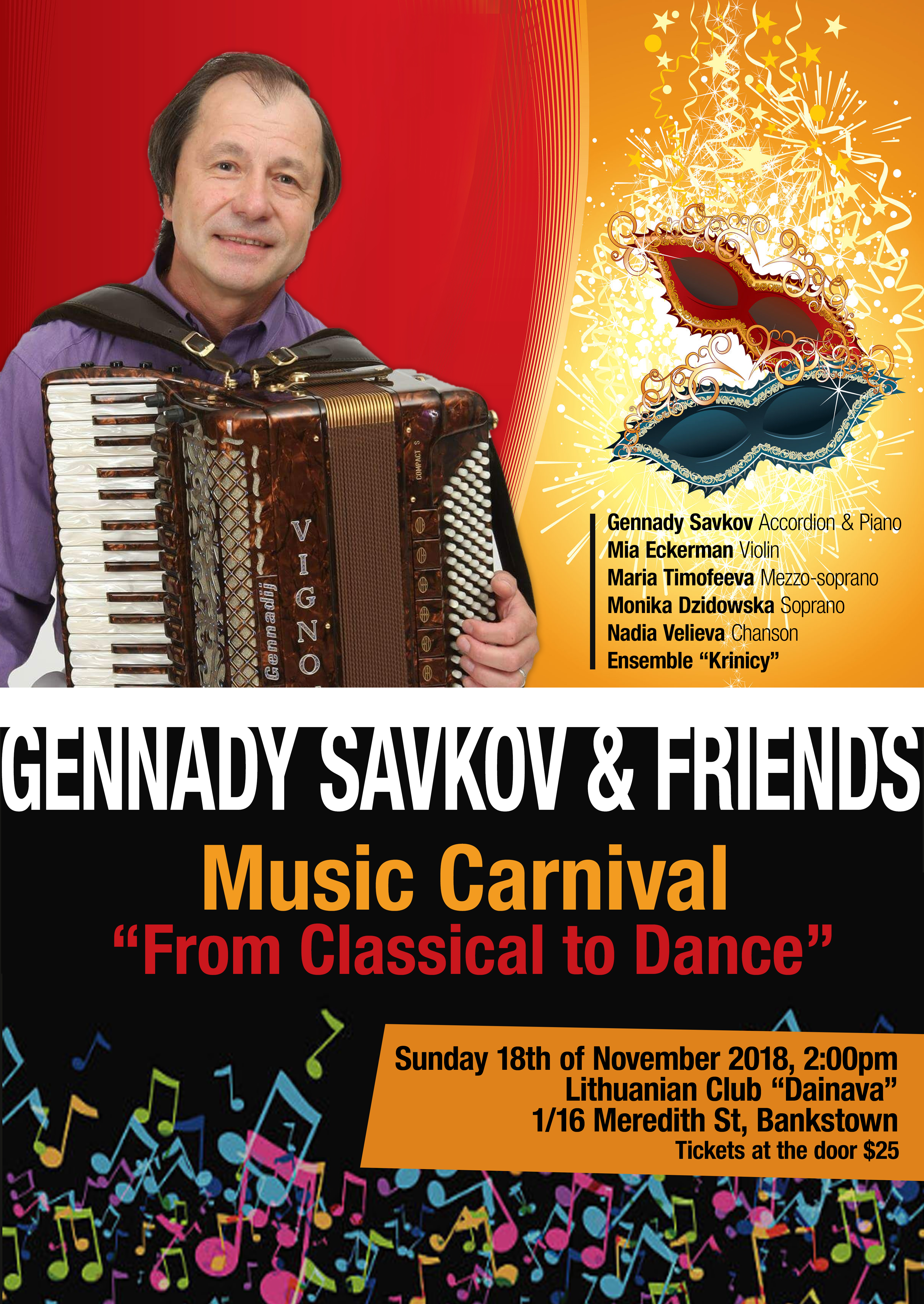 """Gennady Savkov and Friends: Music Carnival """"From Classical to Dance"""". @ Lithuanian Club """"Dainava"""",    Bankstown   New South Wales   Australia"""